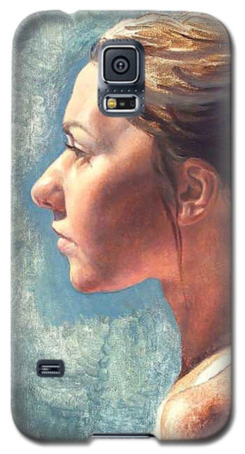 Portrait Galaxy S5 Case featuring the painting Fresh Pose by Deborah Allison