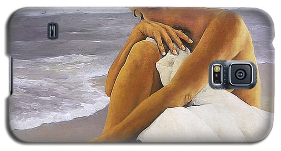 Nude Galaxy S5 Case featuring the painting Hibiscus Dreaming by Trisha Lambi