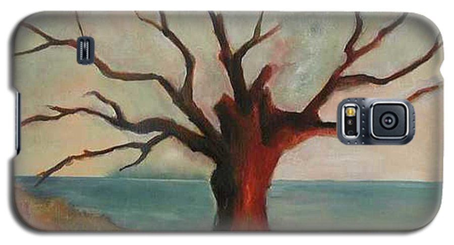 Oak Tree Inspired By Katrina Damage Along The Coast Galaxy S5 Case featuring the painting Lone Oak - Gulf Coast by Deborah Allison