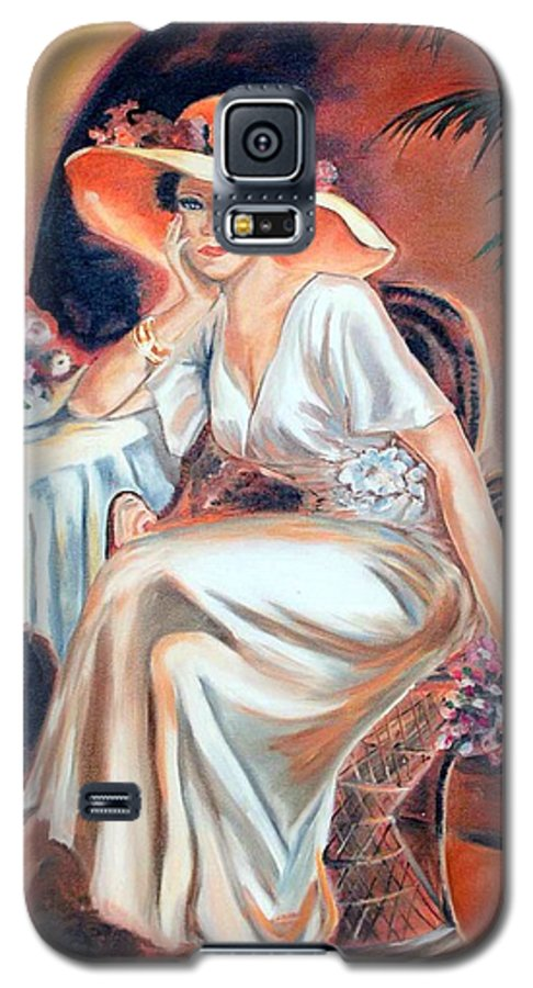 Woman Galaxy S5 Case featuring the painting Patience In Beauty by Margaret Fortunato