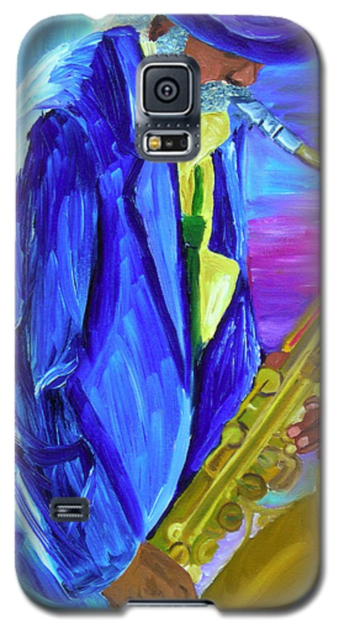 Street Musician Galaxy S5 Case featuring the painting Playing The Blues by Michael Lee