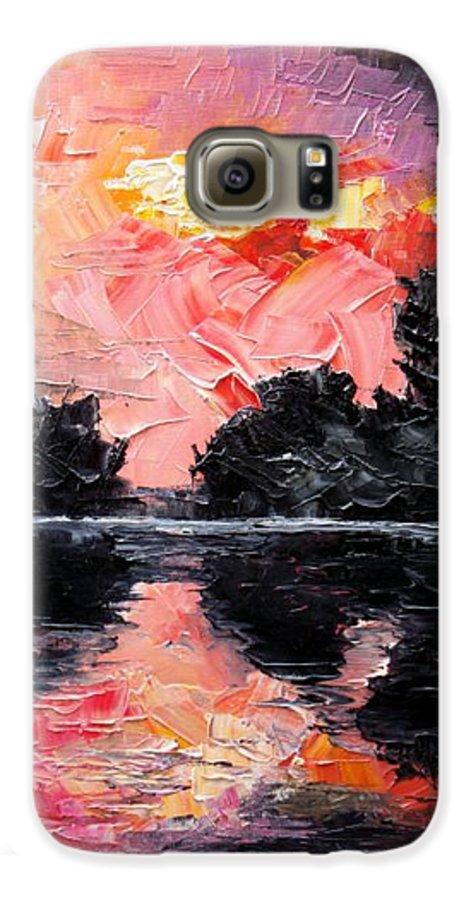 Lake After Storm Galaxy S6 Case featuring the painting Sunset. After Storm. by Sergey Bezhinets