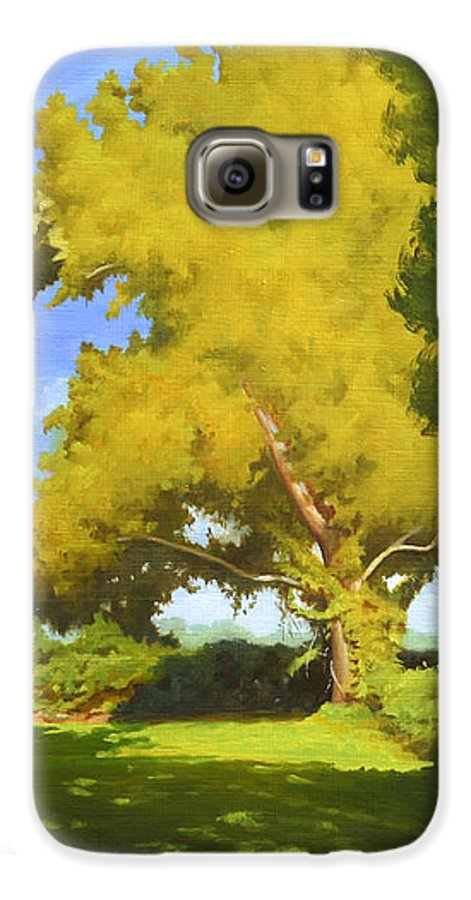 Sycamore Tree Galaxy S6 Case featuring the painting Sycamore by Gary Hernandez