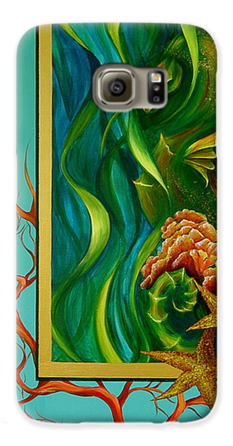 Ocean Sea Seahorse Coral Underwater Starfish Beach Tropical Layered Collage Galaxy S6 Case featuring the painting Aquatica by Dina Dargo
