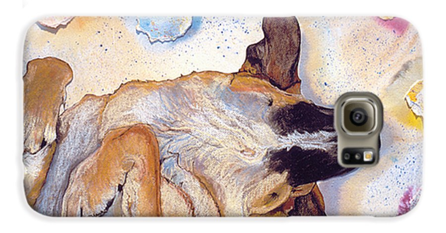 Sleeping Dog Galaxy S6 Case featuring the painting Dog Dreams by Pat Saunders-White