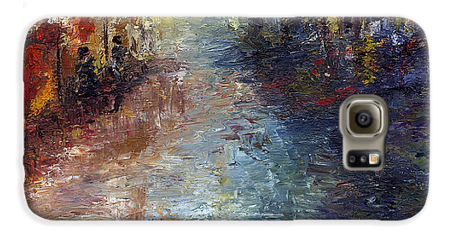 Cityscape Galaxy S6 Case featuring the painting Fade Into Light by Laura Swink