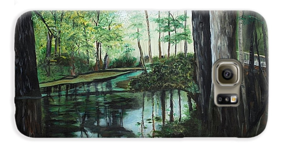 Landscape Galaxy S6 Case featuring the painting Ginny Springs by Margaret Fortunato