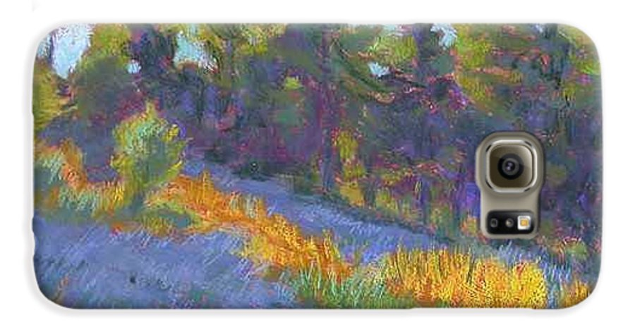 View Of Hillside And Evening Shadows Galaxy S6 Case featuring the painting Hillside Shadows by Julie Mayser