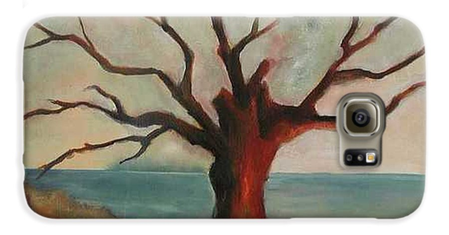 Oak Tree Inspired By Katrina Damage Along The Coast Galaxy S6 Case featuring the painting Lone Oak - Gulf Coast by Deborah Allison