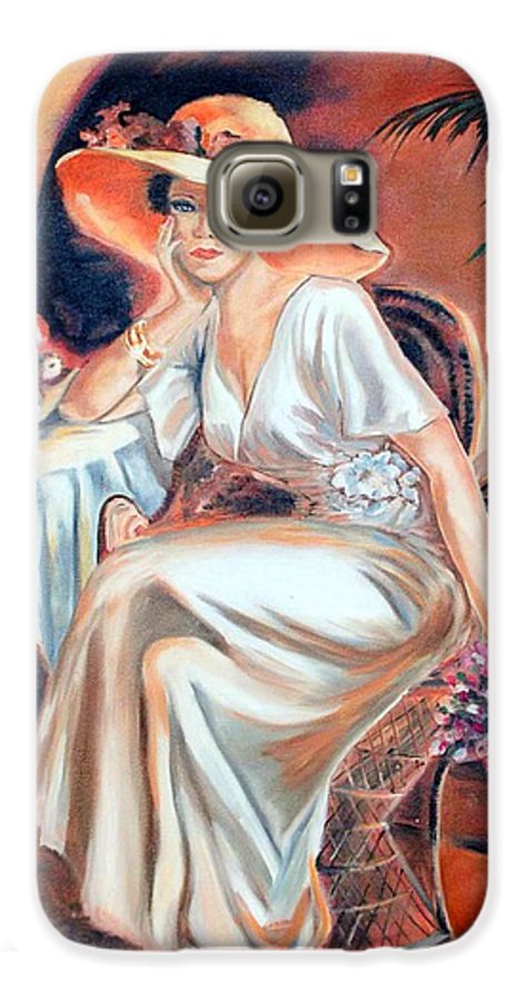 Woman Galaxy S6 Case featuring the painting Patience In Beauty by Margaret Fortunato