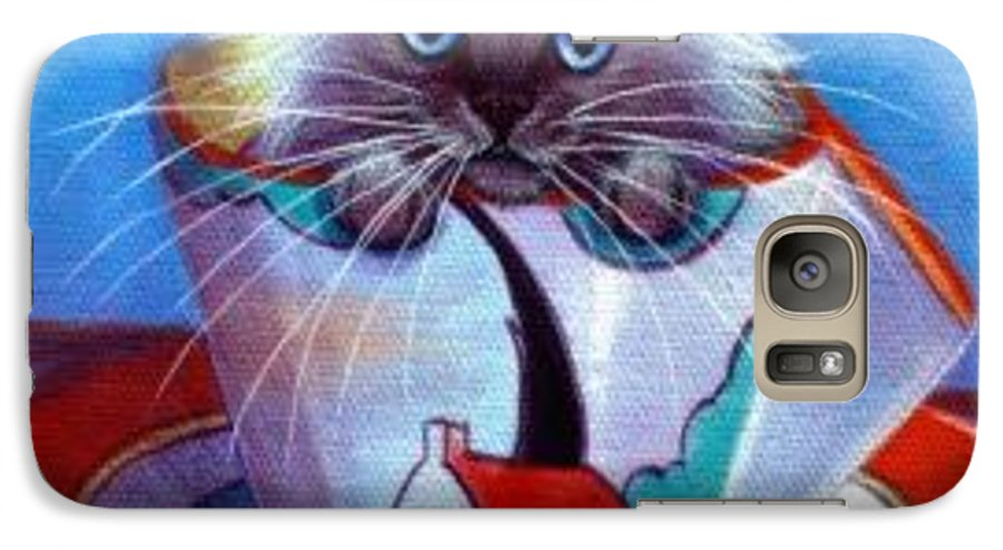 Whimsy Galaxy S7 Case featuring the painting Clarice Cliff Tea Time Himi by L Risor