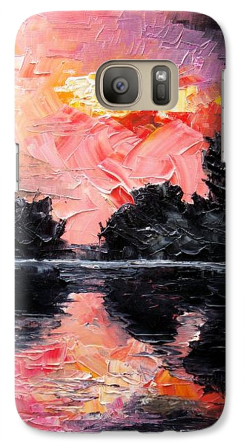 Lake After Storm Galaxy S7 Case featuring the painting Sunset. After Storm. by Sergey Bezhinets