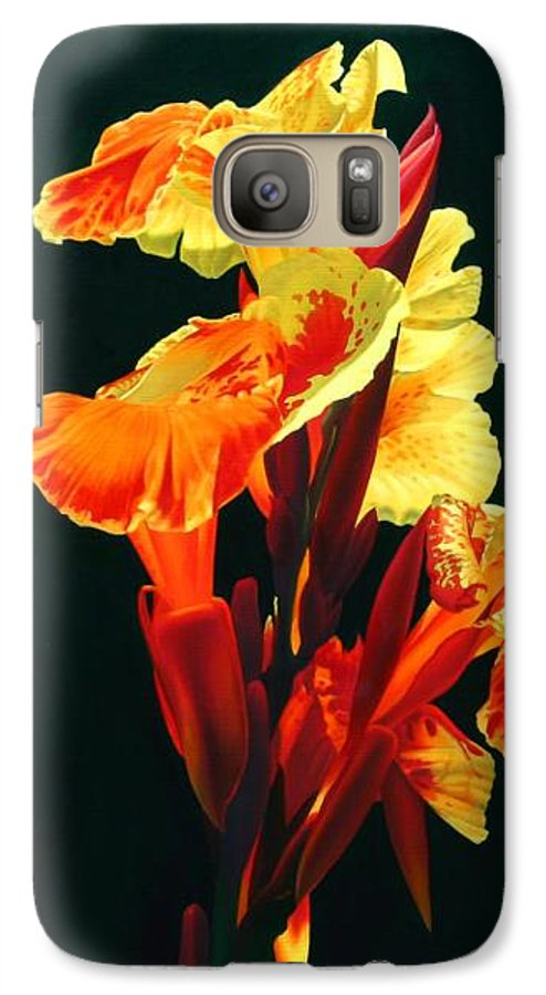 Flowers Galaxy S7 Case featuring the painting Yellow Cannas by Gary Hernandez