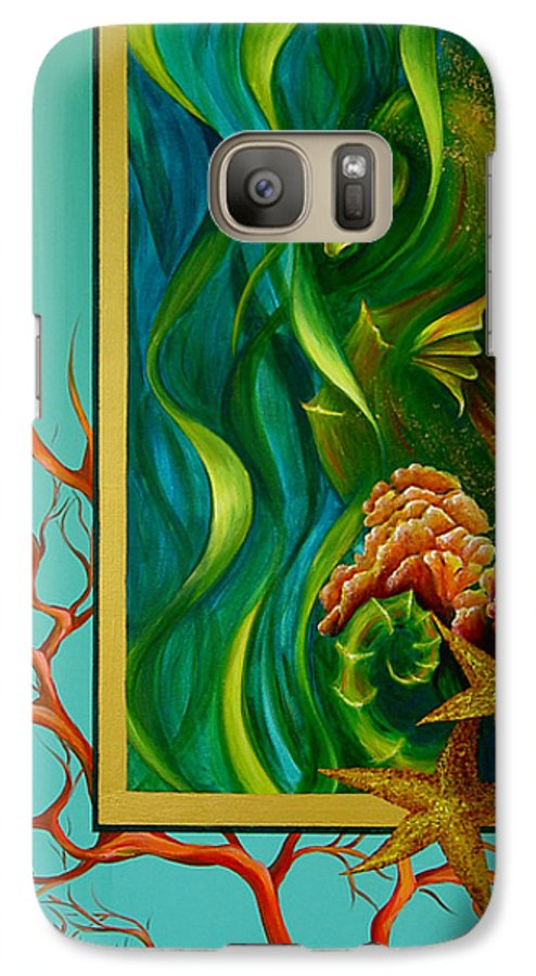 Ocean Sea Seahorse Coral Underwater Starfish Beach Tropical Layered Collage Galaxy S7 Case featuring the painting Aquatica by Dina Dargo