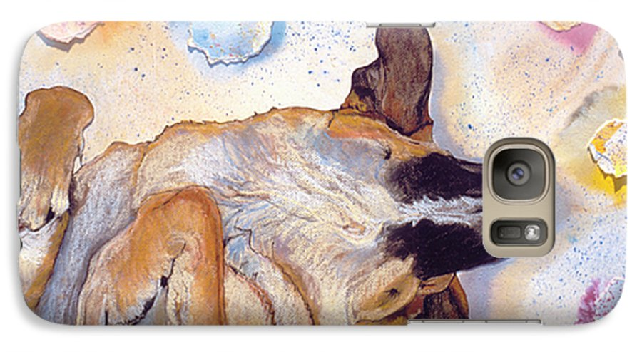 Sleeping Dog Galaxy S7 Case featuring the painting Dog Dreams by Pat Saunders-White