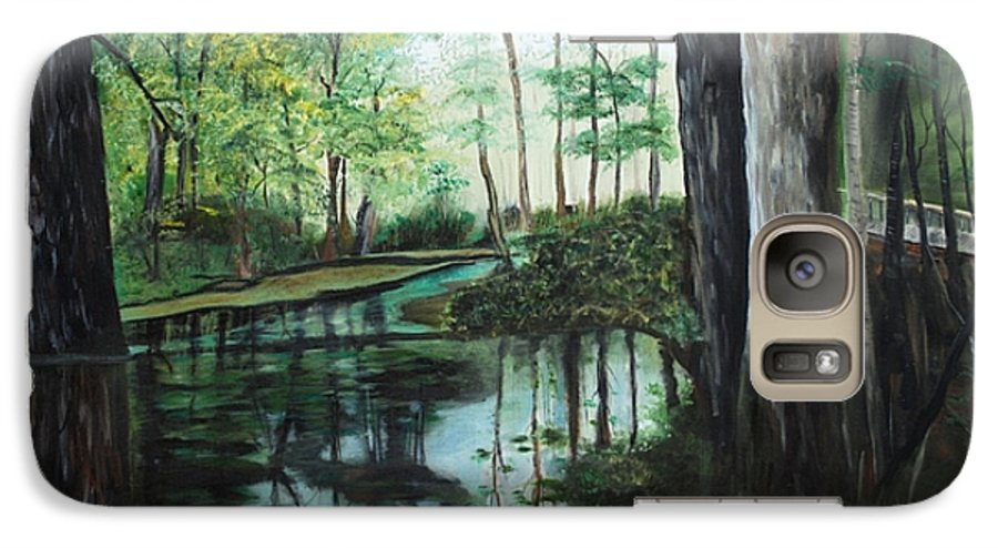 Landscape Galaxy S7 Case featuring the painting Ginny Springs by Margaret Fortunato