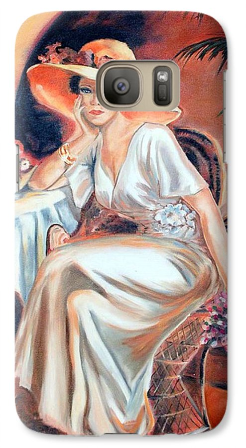 Woman Galaxy S7 Case featuring the painting Patience In Beauty by Margaret Fortunato