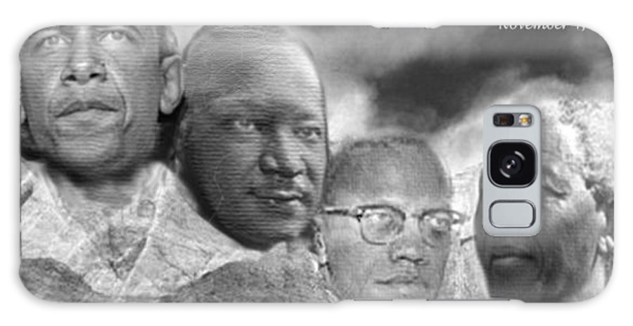 Obama Galaxy Case featuring the digital art Black Rushmore Grayscale by Phoenix Jackson