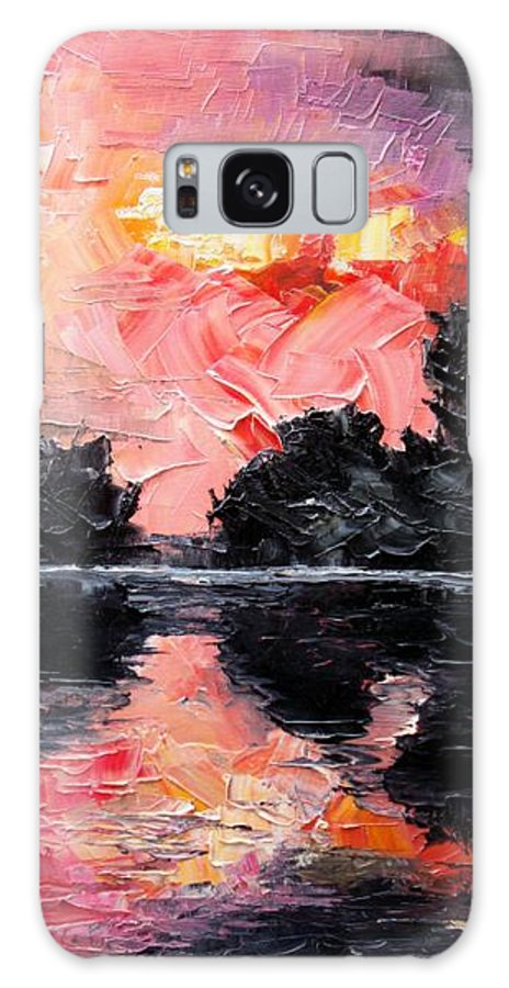 Lake After Storm Galaxy Case featuring the painting Sunset. After Storm. by Sergey Bezhinets