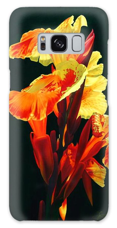 Flowers Galaxy Case featuring the painting Yellow Cannas by Gary Hernandez