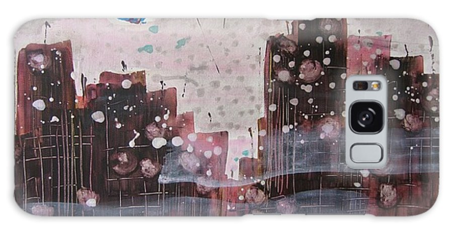 Brown Paintings Galaxy S8 Case featuring the painting Cityscape by Seon-Jeong Kim