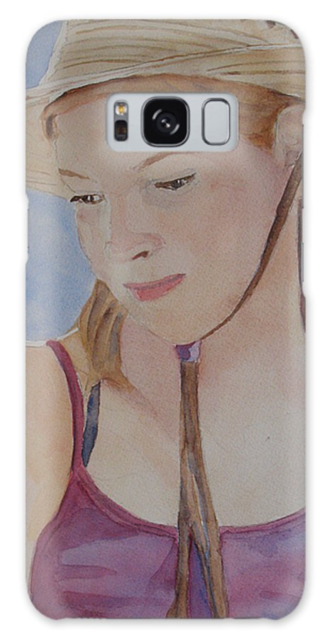 Girl Galaxy Case featuring the painting Hat And Shoulders by Jenny Armitage