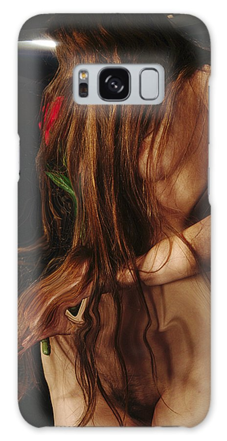 Female Nude Abstract Mirrors Flowers Photographs Galaxy Case featuring the photograph Kazi1182 by Henry Butz