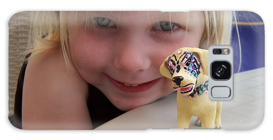 Kids Photo Galaxy S8 Case featuring the painting Lacey's Face Painted Dog by Deahn   Benware