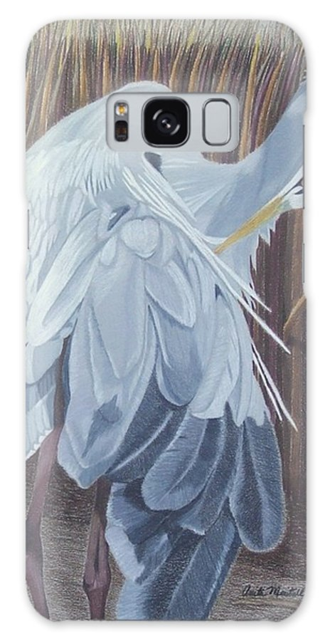 Blue Heron Galaxy S8 Case featuring the painting Preening by Anita Putman