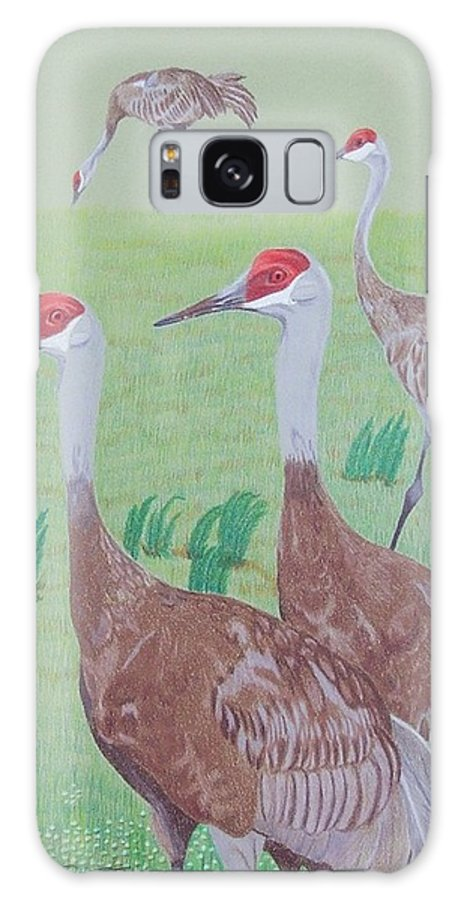 Crane Galaxy S8 Case featuring the painting Red Heads by Anita Putman