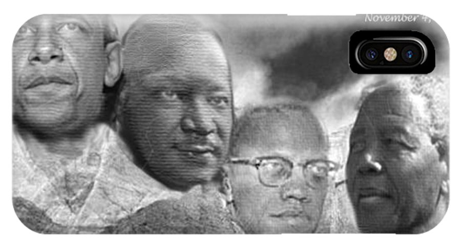 Obama IPhone Case featuring the digital art Black Rushmore Grayscale by Phoenix Jackson