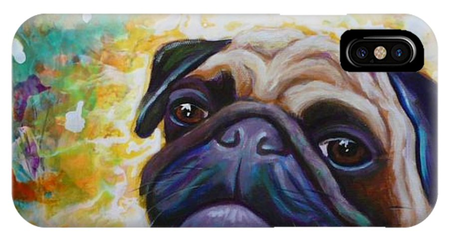 Pug IPhone Case featuring the painting A Pugs World by Gayle Utter