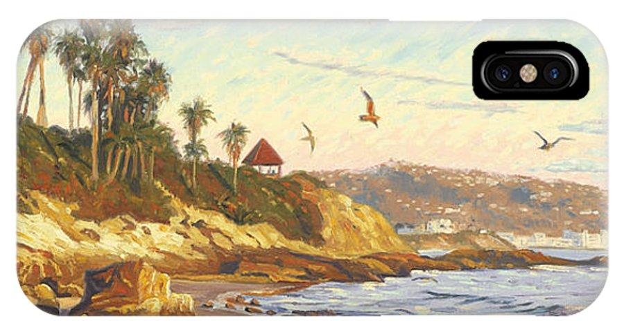 Twilight IPhone X Case featuring the painting Heisler Park Rockpile At Twilight by Steve Simon