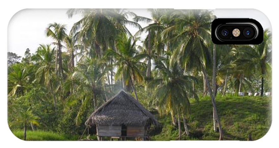 Tropics Water Sepia Bocas Panama Indian Life Palm Trees Island Beach Ngobe Bugle Comarca Cayuco Hut Over Water IPhone Case featuring the photograph Isla Tigre - Hut Over Water And Palm Trees by Elle Nicolai