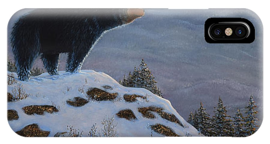 Wildlife IPhone X Case featuring the painting Last Look Black Bear by Frank Wilson