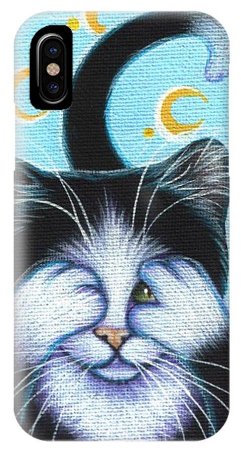 Tuxedo Cat Portrait Self Taught Texas Artist Lynnrisor See No Evil Hear Speak L. Risor Lynn Risor IPhone Case featuring the painting See No Evil by L Risor