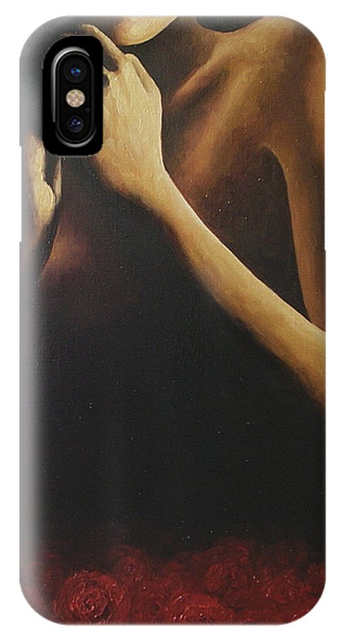 Nude IPhone X Case featuring the painting Bed Of Roses 2 by Trisha Lambi