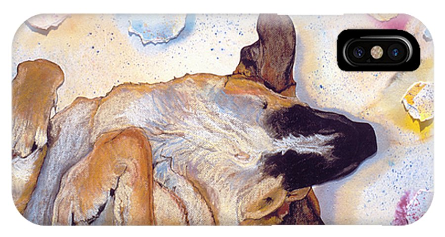 Sleeping Dog IPhone X Case featuring the painting Dog Dreams by Pat Saunders-White