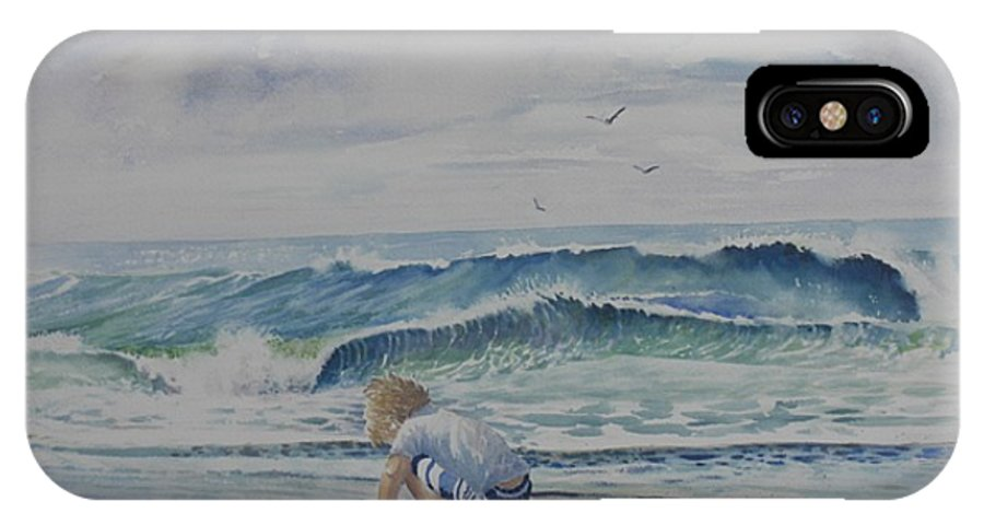 Ocean IPhone X Case featuring the painting Finding Sand Crabs by Tom Harris