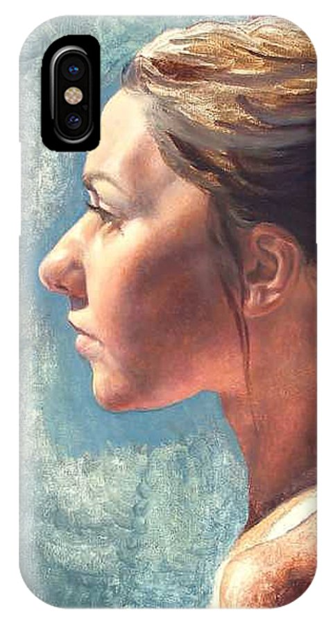 Portrait IPhone X Case featuring the painting Fresh Pose by Deborah Allison