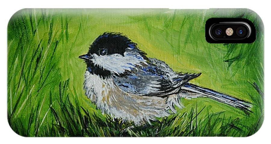 Chickadee IPhone X Case featuring the painting In The Grass by Leslie Allen
