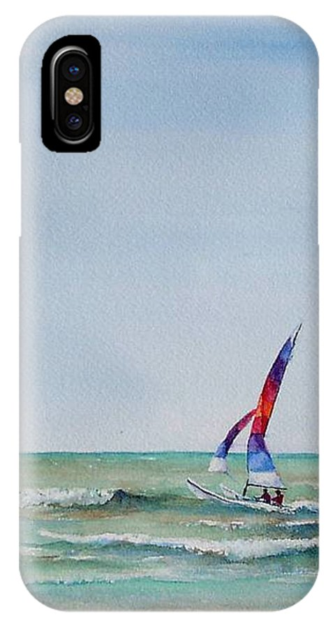 Boat IPhone X Case featuring the painting Ipperwash Beach by Patricia Henderson