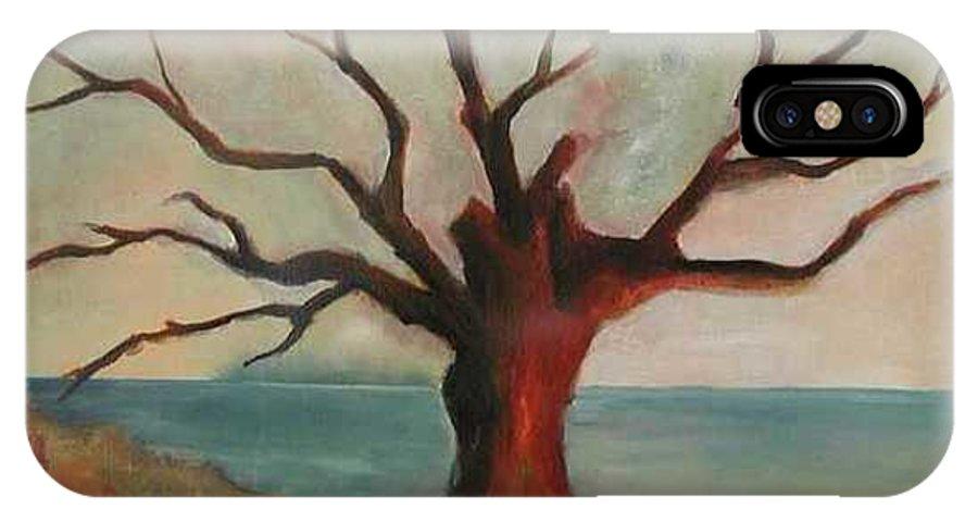 Oak Tree Inspired By Katrina Damage Along The Coast IPhone X / XS Case featuring the painting Lone Oak - Gulf Coast by Deborah Allison