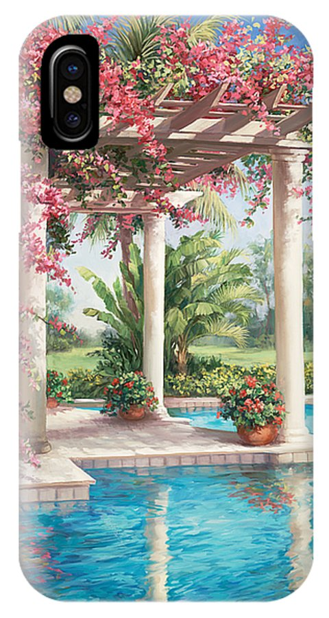 Floral IPhone X Case featuring the painting Poolside Garden by Laurie Hein