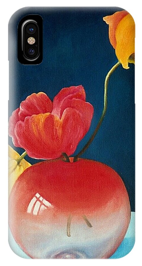 Still Life IPhone X Case featuring the painting Poppies by Trisha Lambi