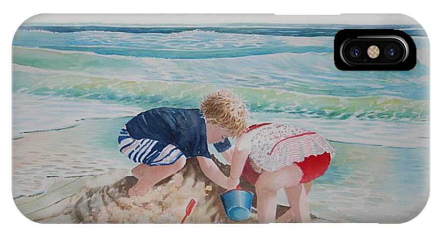 Beach IPhone X Case featuring the painting Saving The Sand Castle From The Tide by Tom Harris