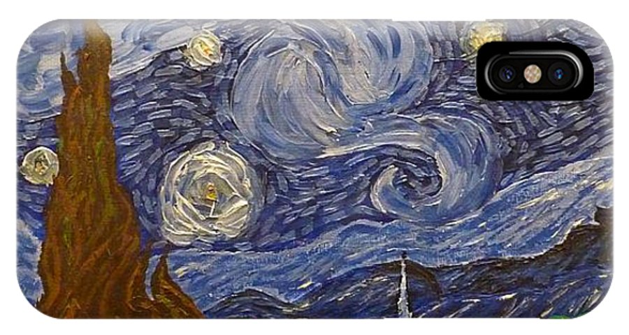 Starry Night IPhone X Case featuring the painting Starry Night - An Ode To Vincent by Joshua Redman
