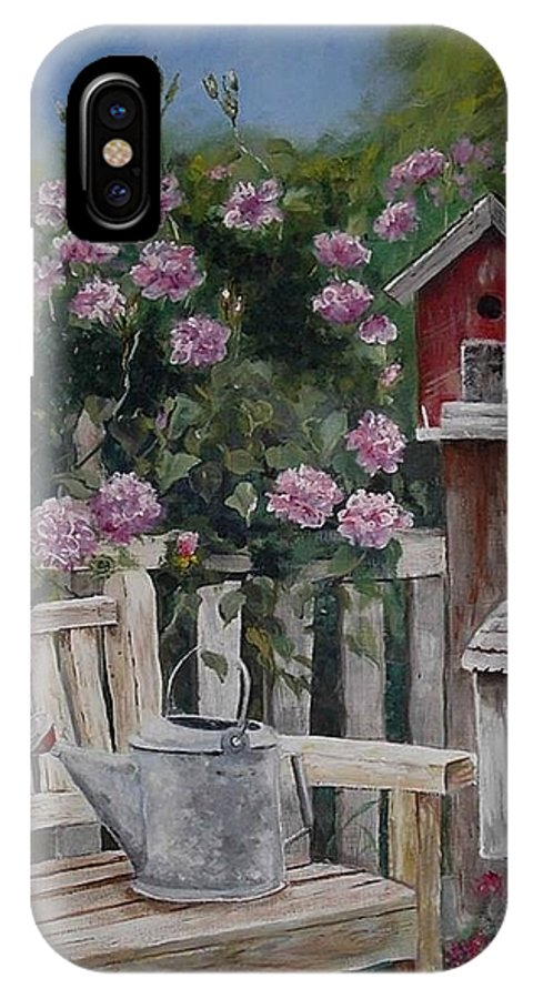 Charity IPhone Case featuring the painting Take A Seat by Mary-Lee Sanders