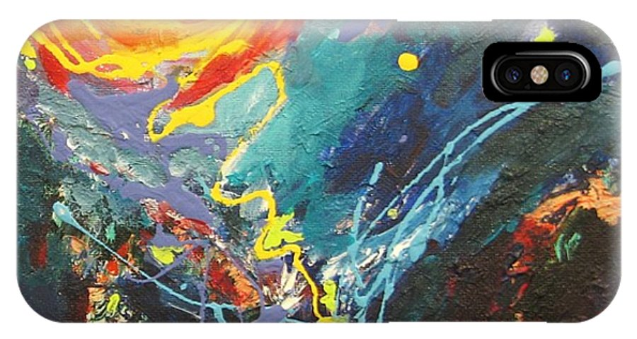 Abstract Paintings IPhone X Case featuring the painting The Narrows by Seon-Jeong Kim