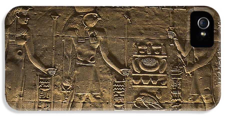 Africa IPhone 5 Case featuring the photograph Hieroglyph At Edfu by Darcy Michaelchuk